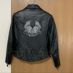 Harley Davidson Rocker Studded Leather Jacket Moto